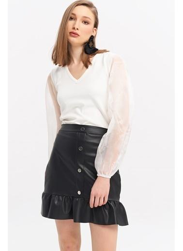 ESQ Organize Balon Kol V Yaka Bluz Beyaz